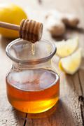 honey lemon and ginger - stock photo