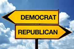Democrat or republican, opposite signs - stock photo