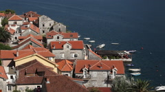 Montenegro, view of Perast from a tower Stock Footage