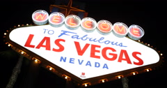Flashing Lights Electric Bulbs Icon Attraction Night Las Vegas Welcome Neon Sign Stock Footage