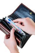 Wallet with euro bills Stock Photos