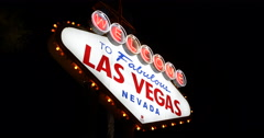 Las Vegas Welcome Fabulous Nevada Neon Sign Evening Night Lights Gamblers City Stock Footage