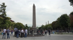 Istanbul Turkey tourists Obelisk of Theodosius 4K 018 Stock Footage
