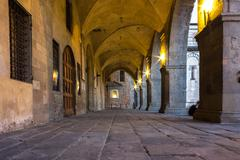 tuscany, medieval portico - stock photo