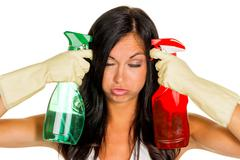 Clean housewife with stress during Stock Photos
