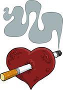 Heart and cigarette Stock Illustration