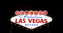 Establishing Shot Las Vegas City Welcome Neon Sign Landmark Night Evening Lights Stock Footage