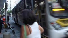 Stream of Buses Pass on Rio de Janeiro Street Stock Footage