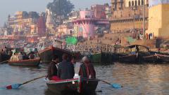 Tourists on Boat on the Ganges River, Varanasi, Uttar Pradesh, India - stock footage