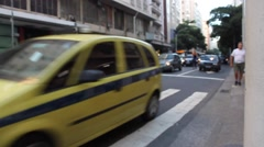 Brazil Traffic Scene - Commuters, Taxis Work to Get Home at Dusk Stock Footage