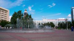 Krasnoyarsk, fountain in the square. time lapse Stock Footage