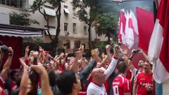 Brazilian Soccer Fans Erupt in Cheers After Goal Stock Footage