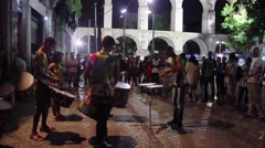 Drummers Bring Rhythm to Lapa, a Nightlife District of Rio de Janeiro Stock Footage