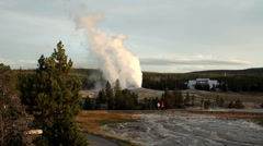 Old Faithful geyser erupts in Yellowstone National Park - stock footage