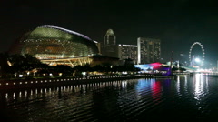 Singapore Opera House at Night - stock footage