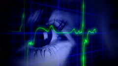 EKG heartbeat eye blue symbols - stock footage