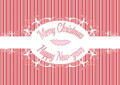 candy cane label merry christmas and happy new year - stock illustration
