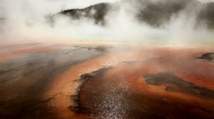 Thermal pool in Yellowstone National Park Stock Footage