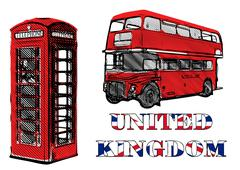 Double decker and red telephone box Stock Illustration