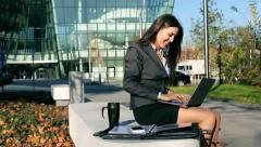 Businesswoman having good results on laptop and smiling, steadycam shot Stock Footage