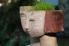 the flower pot in the form of the feminine head - stock photo