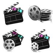 Movie Concepts - Set of 3D illustrations. Stock Illustration