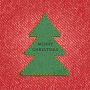 Jeans background leather Christmas tree. Vector Stock Illustration