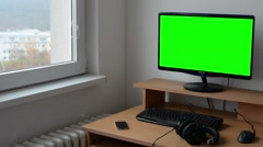 computer in room - green screen - nobody - home - stock footage