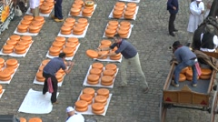 The famous cheese market in Gouda, South Holland, Netherlands. - stock footage