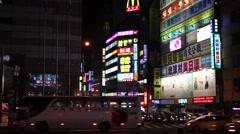Taipei, Taiwan Pedestrian Crosswalk at Night Stock Footage