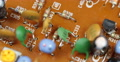 Colorful Board Transistor Capacitors Resistors Electronic Components Motherboard Footage