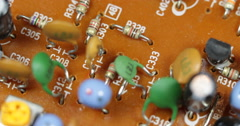 Colorful Board Transistor Capacitors Resistors Electronic Components Motherboard Stock Footage