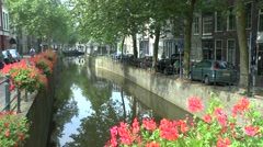 Pretty view of a canal in Gouda, South Holland, Netherlands. - stock footage