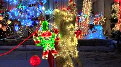 Christmas Angel profile, lighted display Stock Footage