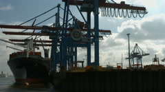 Hamburg Container Harbour - boat shot Stock Footage