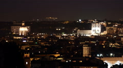 Time lapse of the Santissima Trinita dei Monti church at night  in Rome, Italy Stock Footage