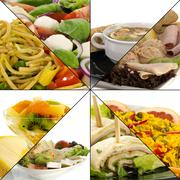 Collage of fresh healthy food Stock Photos