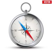 Glossy Bright Vintage Compass. Vector Illustration. - stock illustration