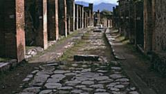 Naples 1955: roman ruins in Pompei - stock footage