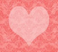 Stock Illustration of valentine heart on faded pink damask
