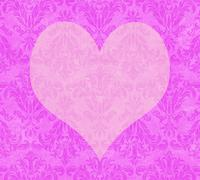 Stock Illustration of valentine heart on faded hot  pink damask