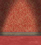 Stock Illustration of empty room with faded red damask wallpaper