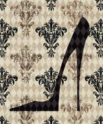Stock Illustration of high heeled shoe on a taupe damask background