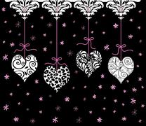 Stock Illustration of red valentine hearts hanging in a row