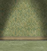 Stock Illustration of empty room with faded green damask wallpaper