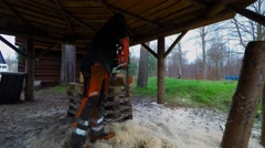 Making a nestbox using a chainsaw Stock Footage