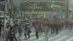 Crowd Of People Walking On A Shanghai City Street - stock footage
