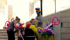 Street vendor rubber toys on the  Mamilla street in West Jerusalem 8 Stock Footage