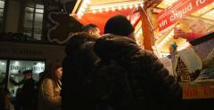 Stock Video Footage of Buying mulled wine at Christmas Market