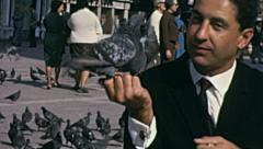Venice 1955: tourist playing with pigeons in Saint Mark square Stock Footage